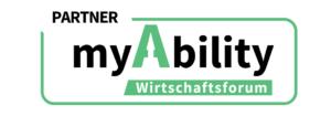 Partner-Badge des myAbility Wirtschaftsforums. Zeigt das myAbility Logo in einer grünen Umrahmung mit dem Schriftzug >Partner